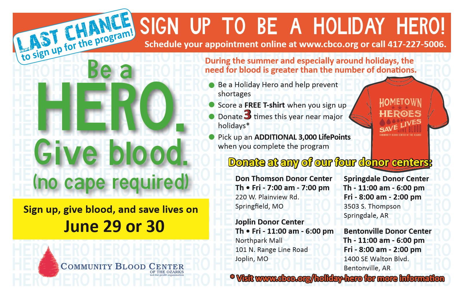 Holiday Hero CBCO Blood Drive 2017