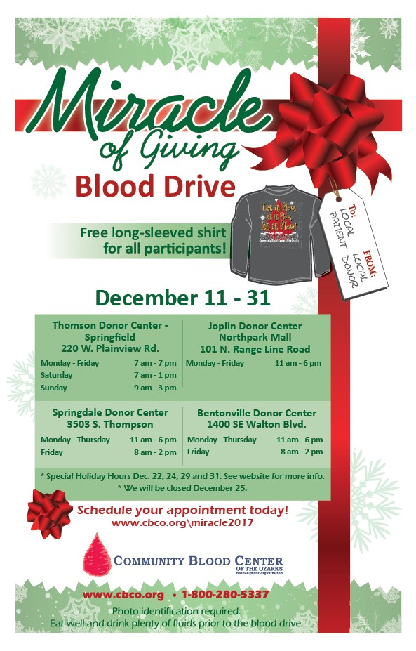 Christmas Blood Drive.Miracle Of Giving 2017 Blood Drive Community Blood Center