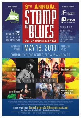 Stomp the Blues Out of Homeless benefit concert May 18, 2019 at Community Blood Center of the Ozarks