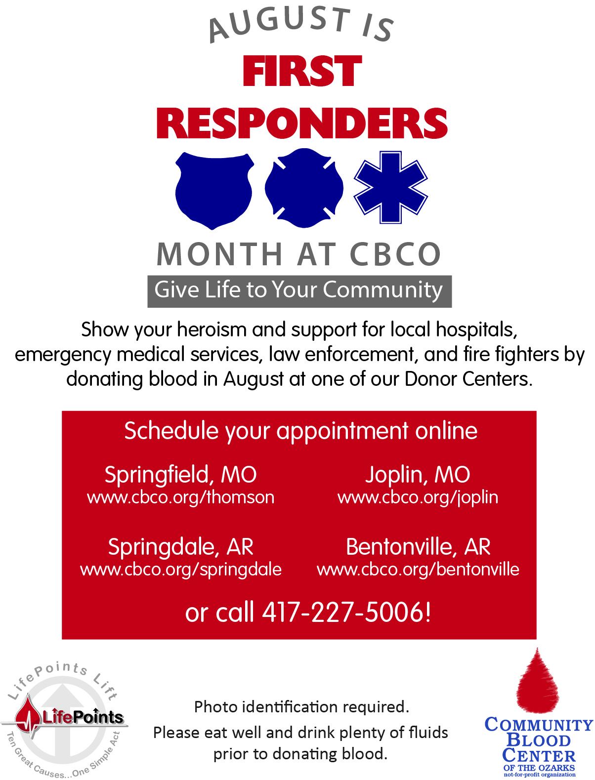 August 2018 is First Responders Month at CBCO